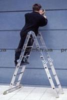 Лестница четырехсекционная алюминиевая бытовая ITOSS 4x3 ступени, шарнирная