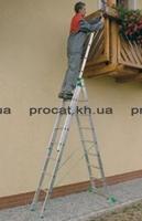 Лестница трехсекционная алюминиевая бытовая ITOSS 3x15 ступеней